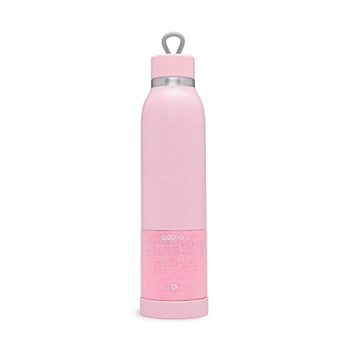 Aquio IBTB2PP Double-wall Steel Insulated Hydration Bottle with Rechargeable Bluetooth Wireless Speaker, Powered by iHome, Blush