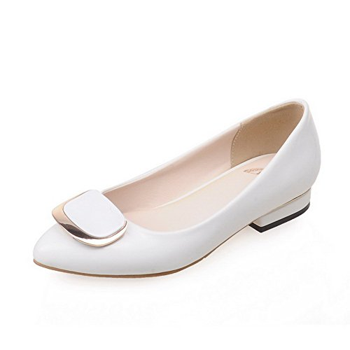 AllhqFashion Womens Low Heels Solid Pull On Pointed Closed Toe Pumps-Shoes White a1Yhf