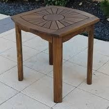 Outdoor Side Table Accent,Wood, Brown by Outdoor Side Table