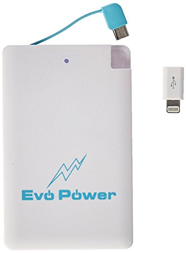 Wallet Pocket Size Power Bank - New Ultra Slim External Mini Battery Thin Ultra Compact USB 2500MAH Smart Phones, Credit Card Size Lightweight for All Rechargeable Digital Devices + Lightning Adapter -
