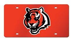 Rico Industries NFL Cincinnati Bengals Laser Inlaid Metal License Plate Tag, Orange, 6
