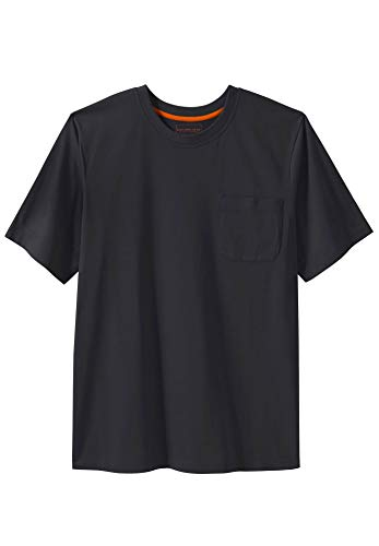 Boulder Creek Men's Big & Tall Heavyweight Crewneck Cotton Tee Shirt with Pocket, Black ()