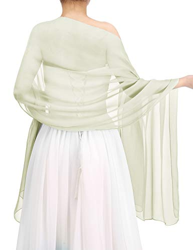Bbonlinedress Women's Soft Chiffon Shawls for Evening Dresses Fashion Scarves Wraps for Bridal Wedding Party Ivory 200x75