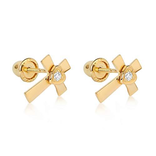 10k YG Cross Earrings 2110 - Earrings 10k Zircon