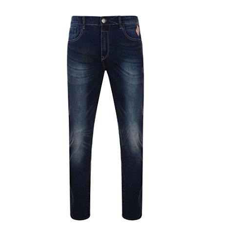 """KAM Herren Extragroß Stretch Blau Dunkle Verwaschene Jeans (Sergio),W32 zu 48"""", L38"""
