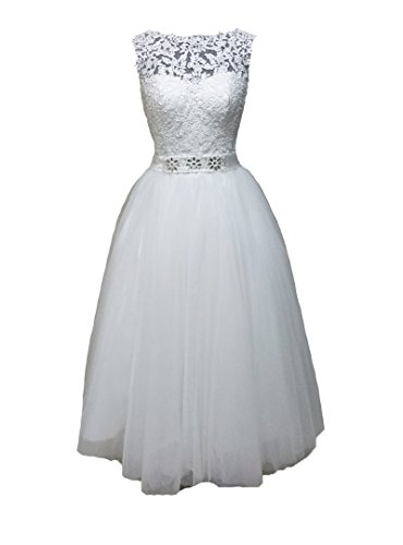 Womens Short Lace White Wedding Dress Bride Party Gown - 4