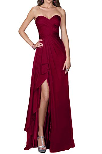 Evening Split Side Dress, Sexy Long Sheath Sweetheart Formal Gown for Women-Burgundy-12