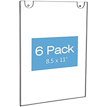 NIUBEE Acrylic Wall Sign Holder 8.5x11 Vertical, Clear Plastic Ads Frame for Paper, Bonus with 3M Tape and Mounting Screws(6 Pack)