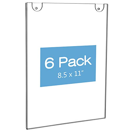 NIUBEE Acrylic Wall Sign Holder 8.5x11 Vertical, Clear Plastic Ads Frame for Paper, Bonus with 3M Tape and Mounting Screws(6 Pack) (3 Meter Wall Displays)