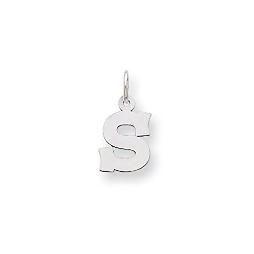 - 14k White Gold, Amanda Collection, Small Block Style Initial S Pendant