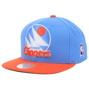 (Mitchell & Ness San Diego Clippers XL Logo 2 Tone Snapback Blue and Orange Hat)