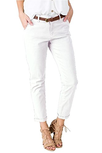Sherrylily Womens Casual Mid Waisted Relaxed-Fit Long Pants Solid Color Trousers with Pockets ()