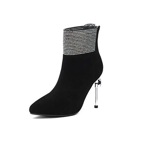 Modelos Feaona Alto Invierno Otoño 2018 De Nuevos E Moda Sexy Zapatos Negro Stiletto Botas Tacón Para Imitación Cortas Mujer Con Cuero Diamantes Negras 0OwOrxIq