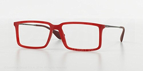 Ray-Ban Men's RX7043 Eyeglasses Rubber Demi Gloss Red - Ban Glasses Luxottica Ray