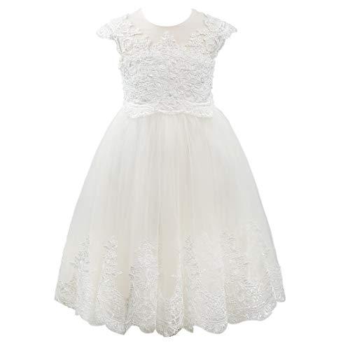 Miama Cap Sleeves Beaded Lace Tulle Wedding Flower Girl Dress Junior Bridesmaid Dress -