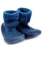 Babies booties shoe with silicone sole size 20 - navy blue