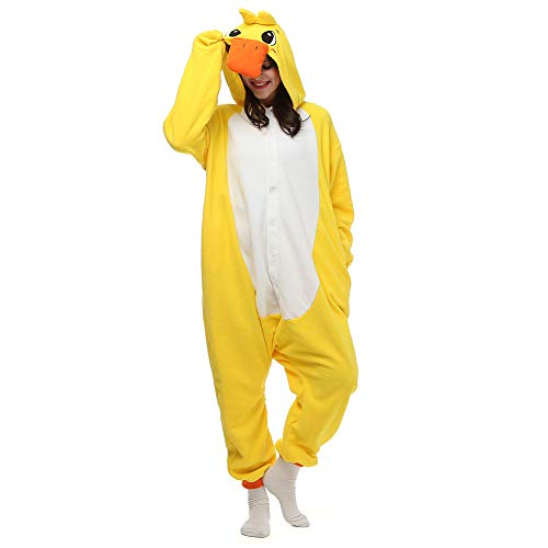 Pajamas Onesie Women/Men Adult Yellow Duck Onesie Teen Adult Animal Unisex Cosplay Plush Sleepwear for -