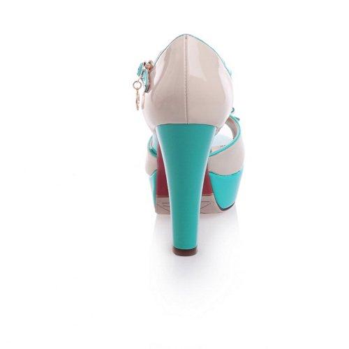 Alustan Pu Toe Sininen Pehmeä Bowknot 3 Korot Kantapää Kiinteä Naisten Materiaali Korkea Uk Avoin Sandaalit Peep Paksu Voguezone009 nwCSqYRgg