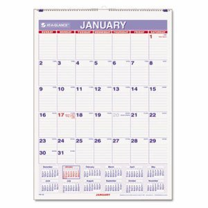 8 x 11'' Monthly Wall Calendar, White by At-A-Glance