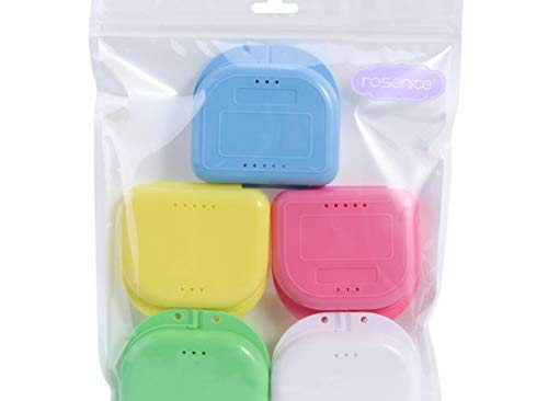 ROSENICE Retainer Case 5pcs Mouth Guard Case Orthodontic Dental Retainer Box Denture Storage Container