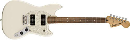 Fender 6 String Mustang 90 Short Scale Offset Electric Guitar-PAU Ferro Fingerboard-Olympic White ()
