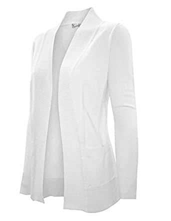 Enimay Women's Low Hip Open Cardigan White Size Medium