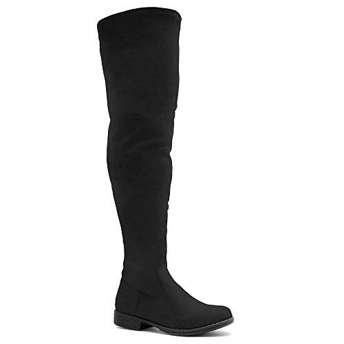 Herstyle Secret Obsession Women's Suede Thigh High Stretchy Boots- Block Heel Side Zipper Back Lace Over The Knee Casual Boots Black 10.0