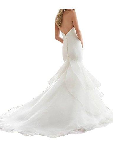 Royaldress 2016 Neu Elegant Edel Weiss Organza Meerjungfrau Hochzeitskleider Brautkleider Brautmode Lang