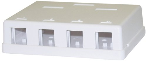 - C&E Blank Surface Mount Box for Keystones, 4 Hole, White (CNE43705)