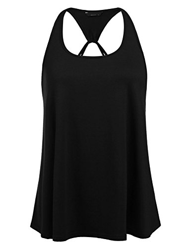 (Pinspark Women's Sexy Backless Halter Tank Top Flowy Loose Tunic Shirt)
