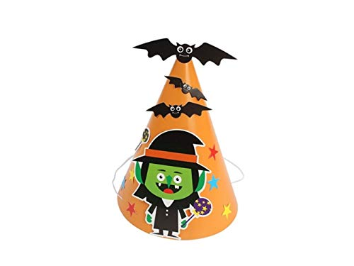 (OVIIVO Halloween Wow Pumpkin Paper Hat Cat Pointed Hat for Halloween Easter Christmas Costume Accessory(Wizard)
