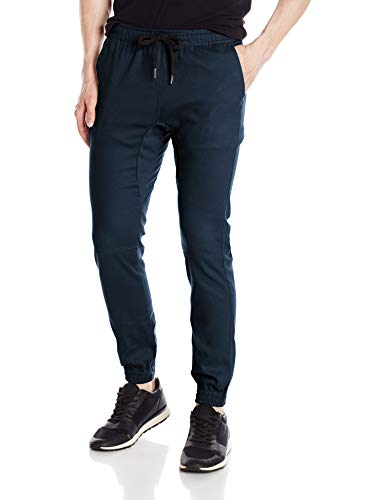 Brooklyn Athletics Men's Twill Jogger Pants Soft Stretch Slim Fit Trousers, Navy, Large