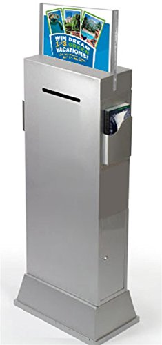 [Displays2go Steel Floor-Standing Ballot Box with Acrylic 17 x 11 Inches Sign Holder, Two Brochure Pockets - Silver (YCHL601SLV)] (Floor Standing Acrylic)