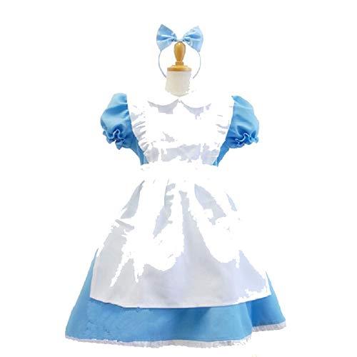 Girl Blue Alice in Wonderland Costume Lolita Maid Dress cFancy Carnival costumess,Black,10T ()