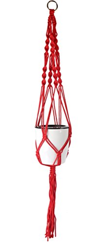 zw99 Store 4 Pack 39 Inches 4 Legs Indoor Outdoor Nylon Hanging Basket Plant Hanger (red)