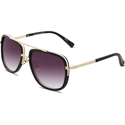 Oversized Square Sunglasses for Men Women pilot Aviator Shades Gold Frame Retro Brand ()