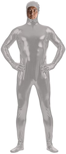 Marvoll Unisex Shiny Metallic Face Out Zentai Bodysuits for Kids and Adults (Medium, Silver) (Superman Leotard)