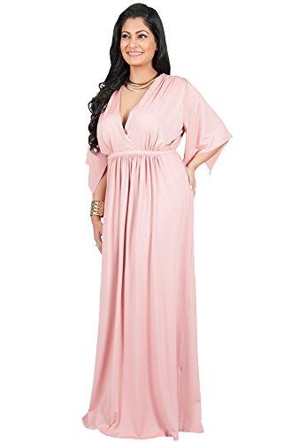 667d03fcedc Adelyn   Vivian Plus Size Womens Long V-Neck Kaftan Short Sleeve Maxi Dress