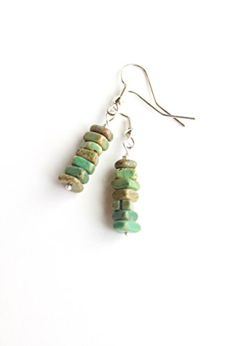 Green semi-precious Magnesite chip earrings - Silver plated gemstone - Boho bar minimalist - Simple stone rustic (Precious Magnesite Semi)