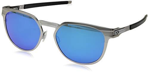 Oakley OO4137 Diecutter Round Metal Sunglasses, Satin Chrome/Prizm Sapphire, 55 mm
