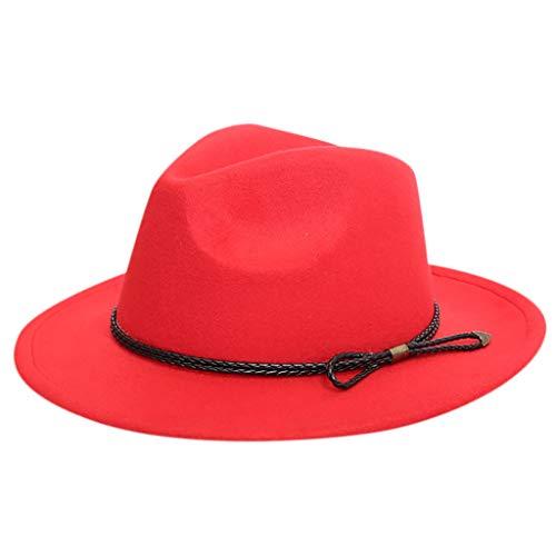 Cuekondy Women Belt Buckle Fedora HatClassic Wide Brim Floppy Panama Hat Crushable Wool Felt Outback Hat