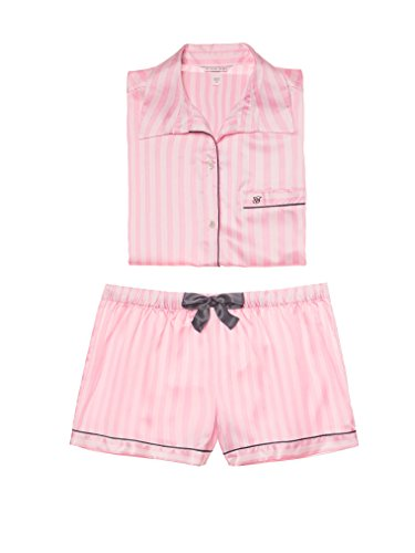 Victoria's Secret The Afterhours Satin Boxer Pajama Pink White Stripe (Medium)