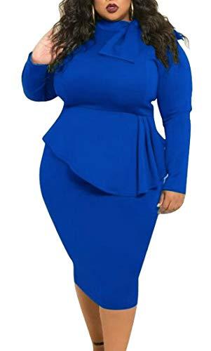 Sleeve Party Mock Peplum Long Dresses Women Cromoncent Bodycon Fit Slim Neck Blue Clubs a0Txw