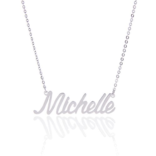 AOLO Stainless Steel Tiny Charm Necklace for Birthday, Michelle (Best Name For Jewelry Company)
