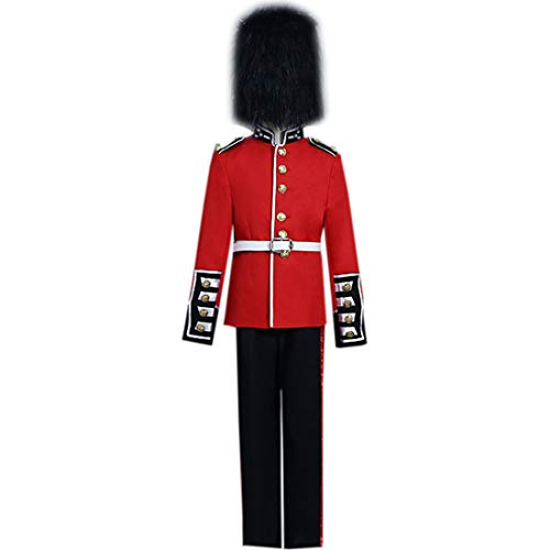 I-Youth Kids European Royal Guard Costume Medieval Performing Costume Red ()