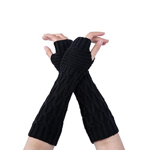 Kikole Winter Knit Long Fingerless Gloves Thumb Hole Arm Warmers Mittens