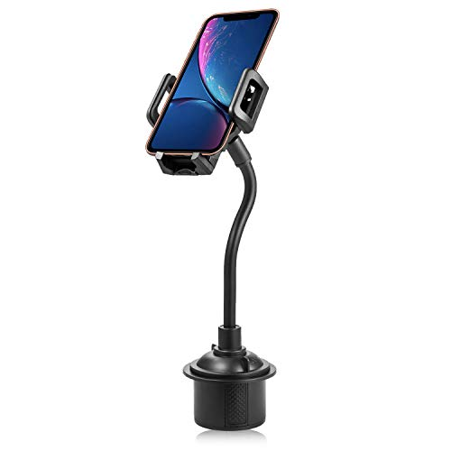 miadore Car Cup Holder Cell Phone Mount 360° Rotatable Cradle with Flexible Long Neck Compatible for iPhone Xs XS Max X 8 8 Plus 7 7 Plus 6S 6 Plus, Galaxy S9 S8 Edge S7 S6 Note 9, LG, Nexus