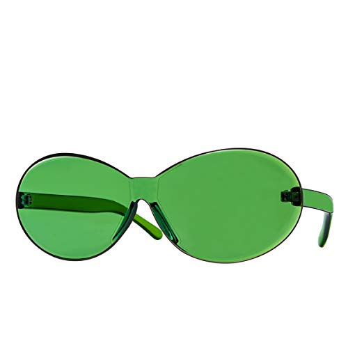 One Piece Rimless Sunglasses Retro Oval Clout Frame Candy Color Fun Glasses Transparent Colorful Tinted Eyewear (Green) ...