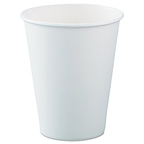 SOLO Cup Company 378W2050 Single-Sided Poly Paper Hot Cups, 8oz, White, 50 Per Bag (Case of 20 Bags)
