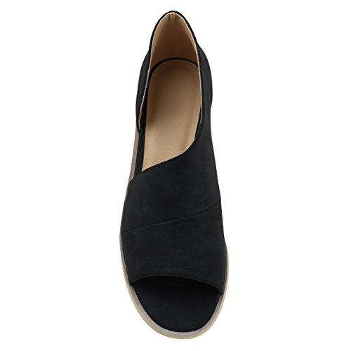 Brinley Co Donna Nero Ecopelle Dorsay Asimmetrico Open-toe Appartamenti Nero